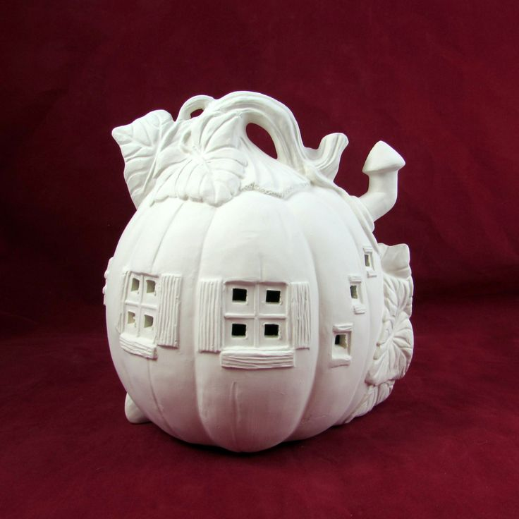 Ready to Ship, Ready to Paint Pumpkin House -7 inches - hand made, Halloween, candles by aarceramics on Etsy