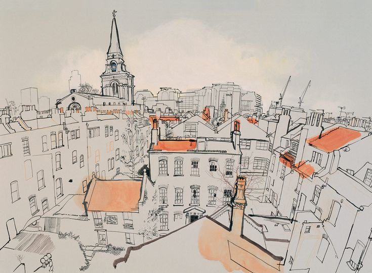 Lucinda Rogers - London - Spitalfields  This drawing of the London skyline is detailed and interesting. The way the space recedes makes it look as if you can see the curve of the earth. The use of color to highlight certain areas of the drawing is also interesting and breaks up the pictorial plan. There also is a slight gradient in the sky that simulates a sunset or a sunrise.