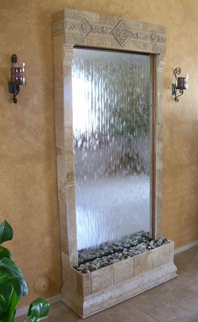 Tuscan Water Wall Fountain For Living Rooms And Indoor Environments. Made  Of Tumbled Travertine, Silver Mirror, With Travertine Deco Inserts.