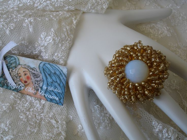 RING WITH BEADS AND CRYSTAL