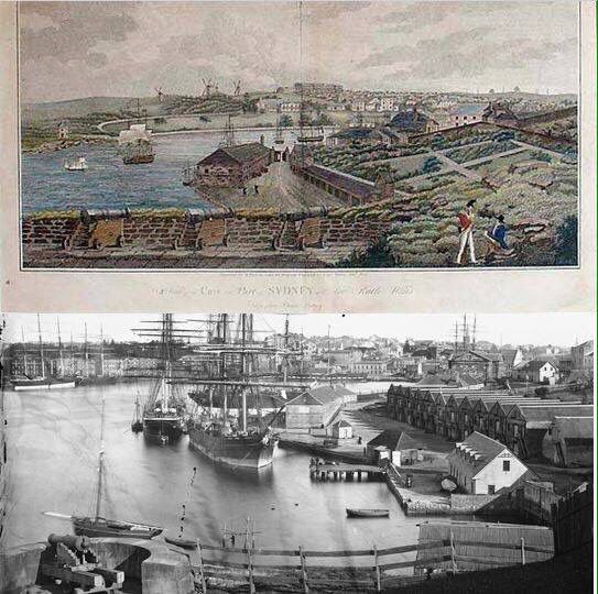 THEN & THEN. Sydney Cove/Circular Quay from Dawes Point 1820s and 1870s. [1820s-OSA Facebook>1870s-State Library NSW. By Les de Belin]