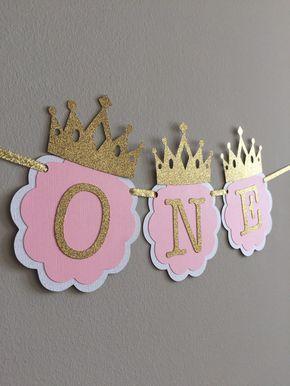Yo soy uno, color de rosa y oro decoraciones de fiesta de cumpleaños. UNA silla alta Banner. Fiesta de rosa y oro. Princesita, banner Smash Cake
