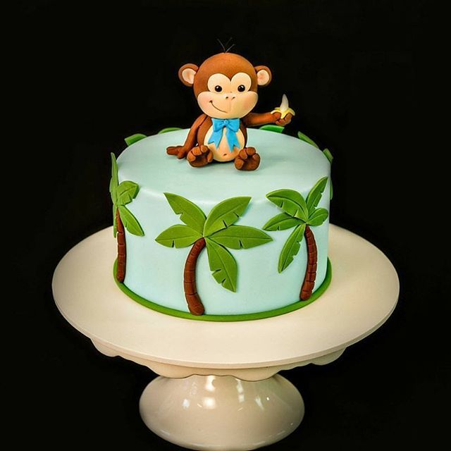 cake cakedecorating cakes palmtrees monkey