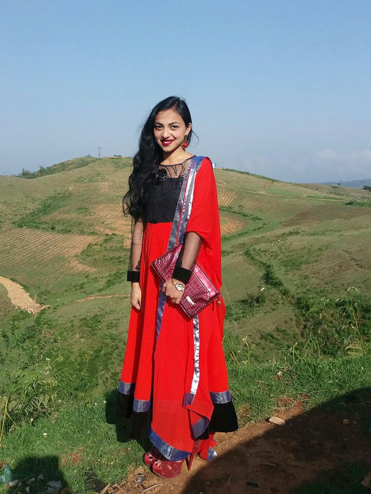 Red n black Long chifon salwar
