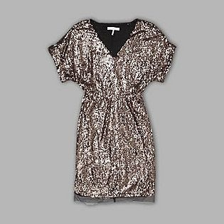 For a little BM Sparkle! UK Style by French Connection- -Women's Dress Blouson Top Short Sleeve – Gold/Black