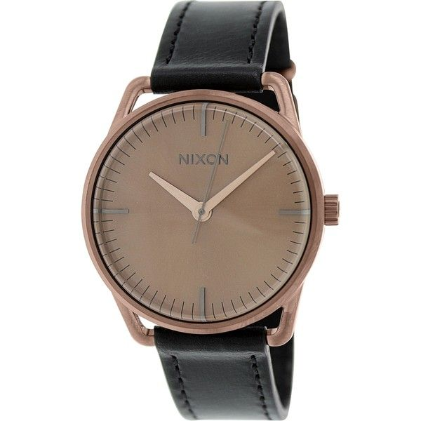 Nixon Women's Mellor A129734 Black Leather Quartz Watch silver ($95) ❤ liked on Polyvore featuring jewelry, watches, silver, leather wrap around bracelet, leather bracelet, leather buckle bracelet, black leather watches and wide leather bracelet