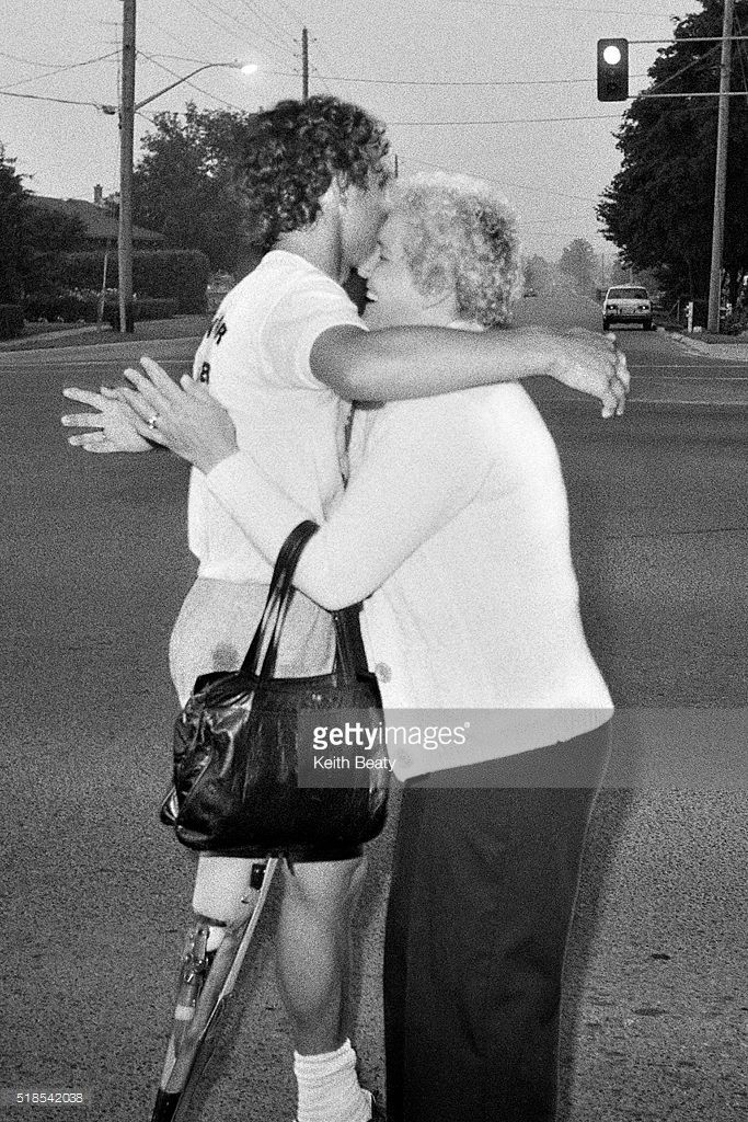 WHITBY, ON - JULY 10, 1980 - Terry Fox is greeted by his mother Betty,in a surprise reunion on Highway 2 near Whitby.
