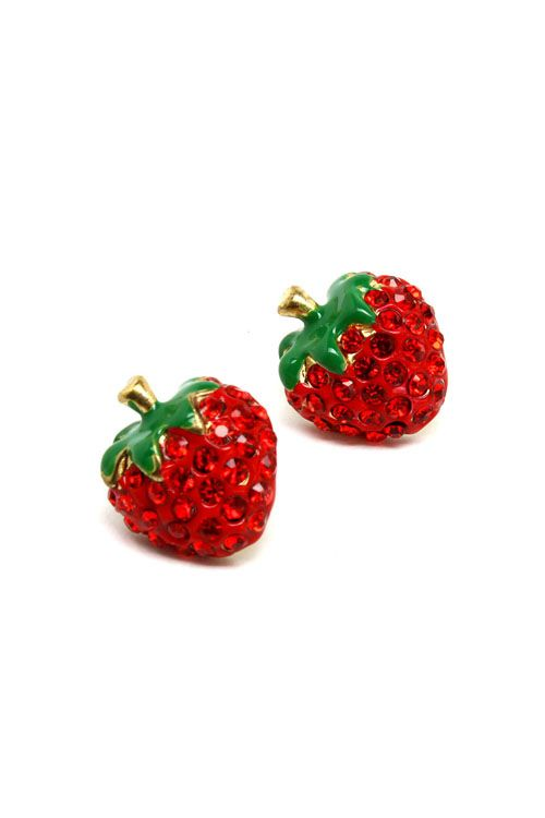crystal strawberry earrings. juicy
