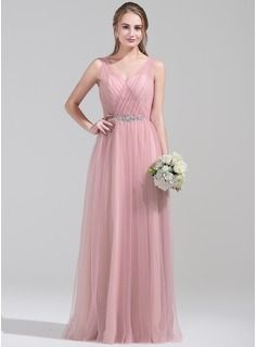 A-Line/Princess V-neck Floor-Length Ruffle Beading Sequins Zipper Up Regular Straps Sleeveless No Other Colors Spring Fall Winter General Plus Tulle Bridesmaid Dress