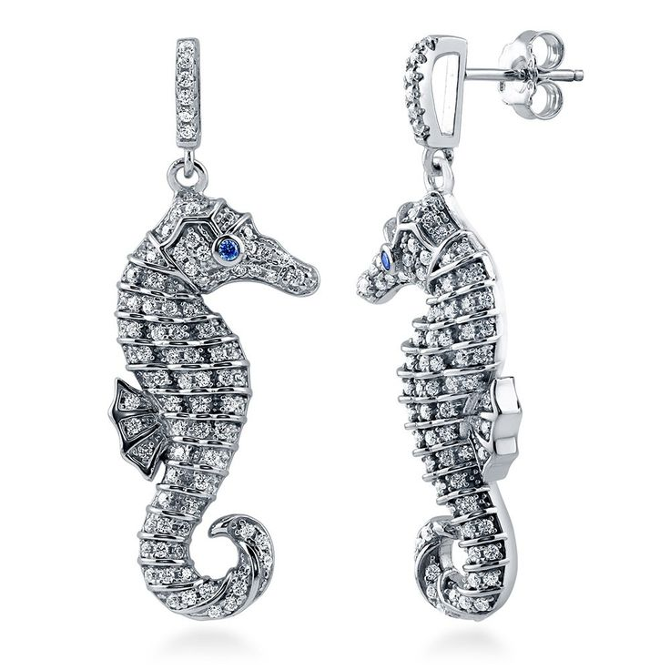 Sterling Silver with Blue Swarovski Zirconia Seahorse Dangle Drop Earrings