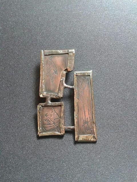 Colgante sergio varas cobre grabado al acido