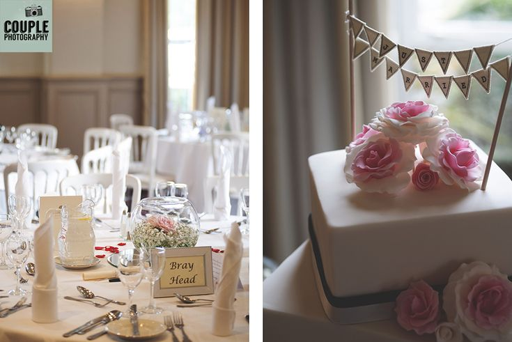 The wedding cake & table settings. Weddings at Summerhill House Hotel by Couple Photography.
