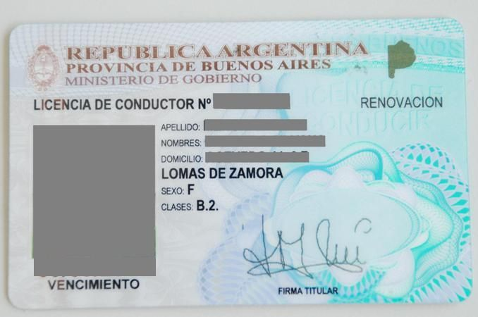 Resultado de imagen para licencia de conducir argentina en blanco
