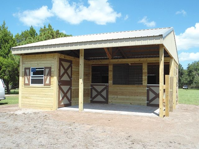 Small two stall horse barn with feed tack room barns for Barn home builders near me