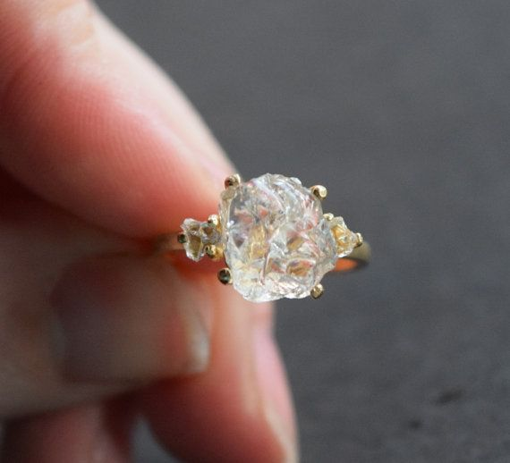 Three completely raw, fresh from the earth California Diamonds set in solid 14 yellow gold Stones: California; Lake County Diamonds Band: 14k Yellow Gold