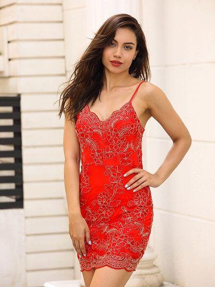 4e07603c81c6 Red V-neck Embroidery Spaghetti Strap Bodycon Mini Dress