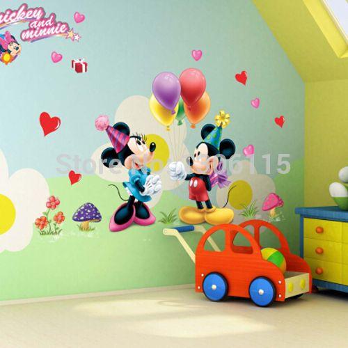 Микки маус и минни маус стикер стены детская комната детская украшения diy росписи съемный виниловые обои