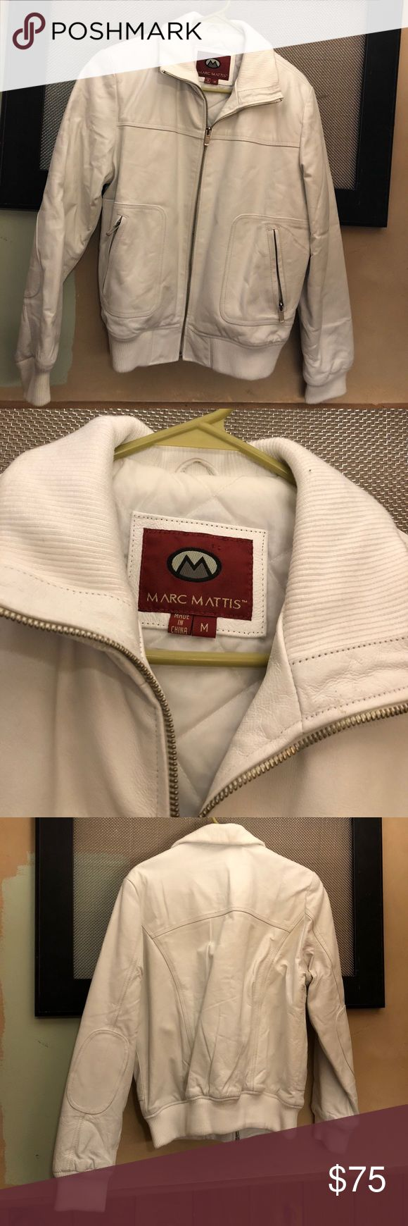 Fully lined white leather bomber jacket ladies med Marc Mattis white leather bomber ladies. Fully lined. Zippered pockets. Good shape! Marc Mattis Jackets & Coats