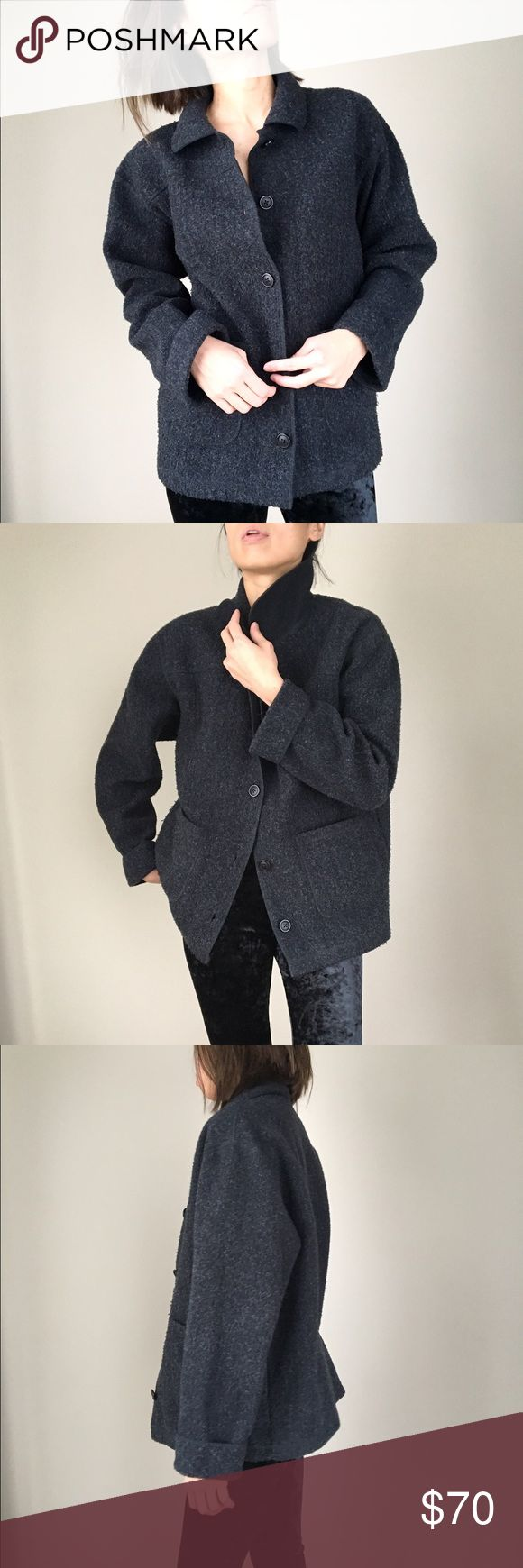 """Eddie Bauer Luxe charcoal black outerwear coat Eddie Bauer button down outerwear coat for everyday cold wear. Goes wth any daily wear .60%acrylic 40%polyester. Size S: shoulder 19"""", bust 22""""length 26.5. Front pockets . Fold sleeve. Good condition .oversize look Eddie Bauer Jackets & Coats Trench Coats"""