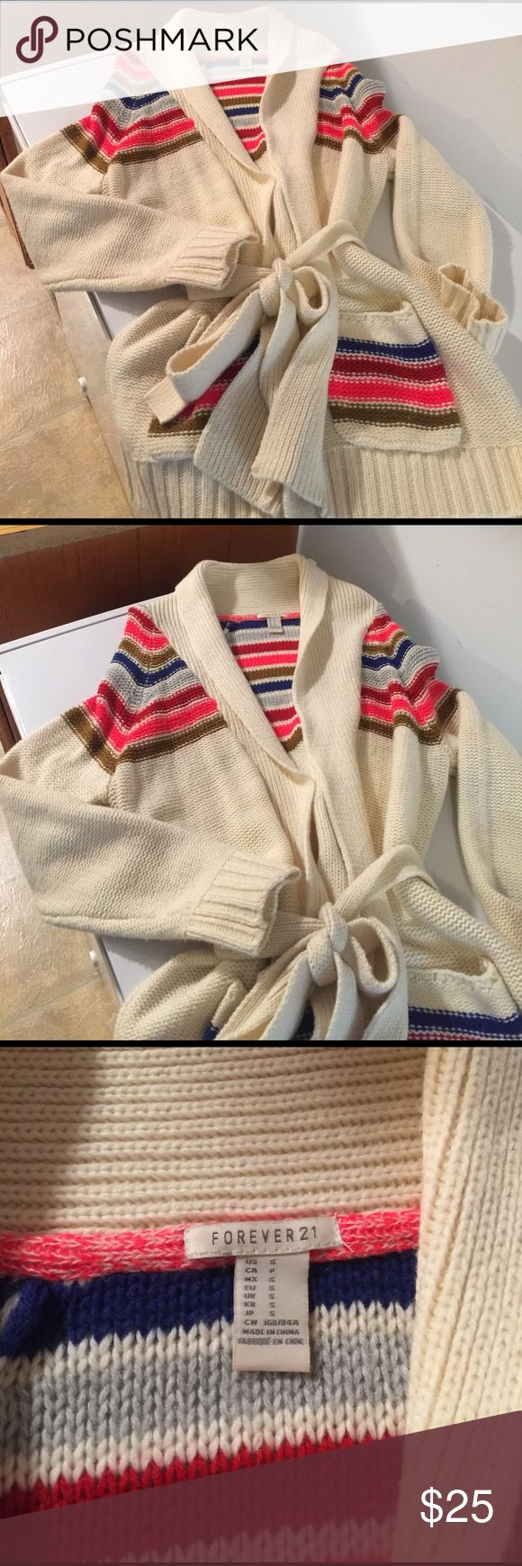 Forever21 Belted Cardigan Sweater Very cute and Cozy, Multi-Colored very pretty 😍 Forever 21 Sweaters Cardigans