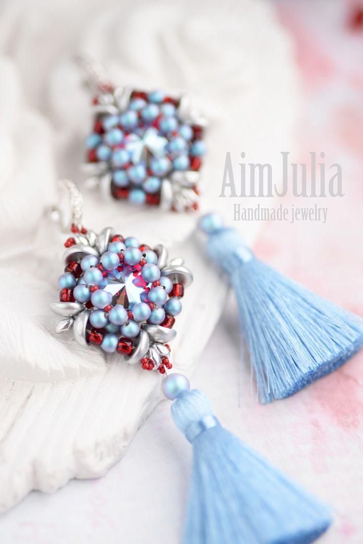 Beaded earrings with tassels   Купить Серьги из бисера и кристаллов Сваровски - голубой, морская волна, яркий цвет, летний, серьги
