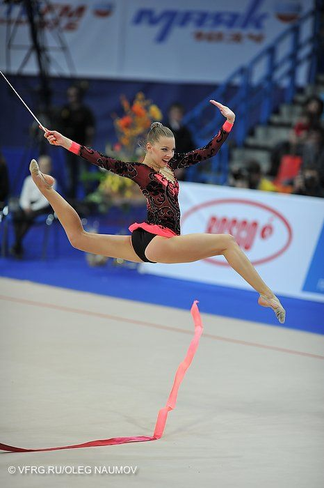 Melitina Staniouta, Belarus, World Cup Moscow 2012. She won the all-around gold medal at the 2014 Kalamata Cup.