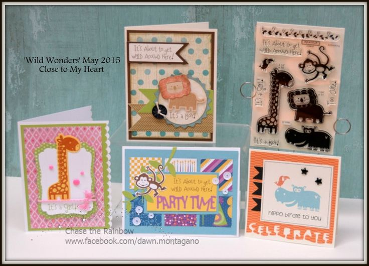Close to My Heart card kit includes the 'Wild Wonders' stamp set and 4 card projects. Join my Virtual Card Club and you can receive kits like this each month. www.facebook.com/dawn.montagano