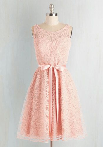 Simply Divine Dress in Blush - Pink, Solid, Prom, Wedding, Party, Bridesmaid, Knit, Lace, Lace, Belted, Special Occasion, Valentine's, Fairytale, Pastel, Sleeveless, Spring, Variation, Fit & Flare