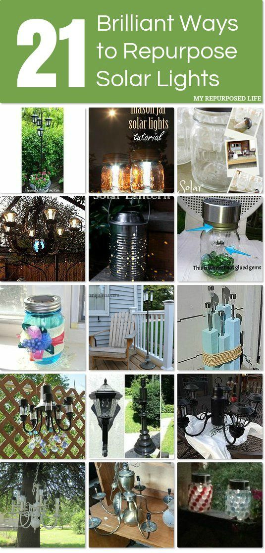 Solar lights are so inexpensive now and these are great ideas for repurposing them!
