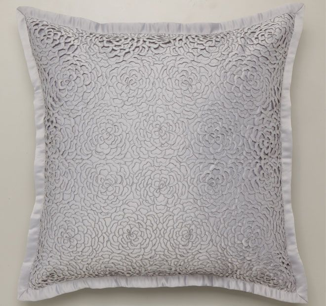 Xanthia Silver PRIVATE COLLECTION  Features: Matt satin with cut out flower panel overlay, also in matt satin Plain tailored flange Plain matt satin reverse  Dimensions: x1 European Pillowcase - 65cm x 65cm - #pillowcases