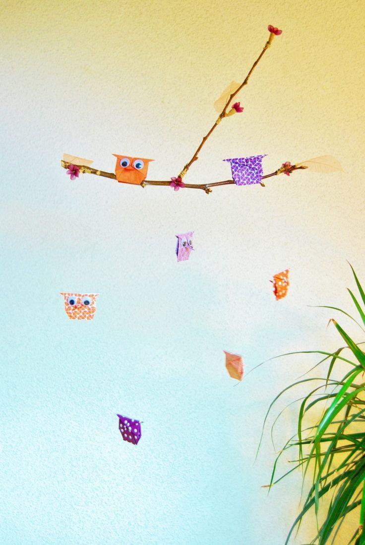 Mobile Origami Hiboux de Printemps : Décoration pour enfants par petitspapierscelestes