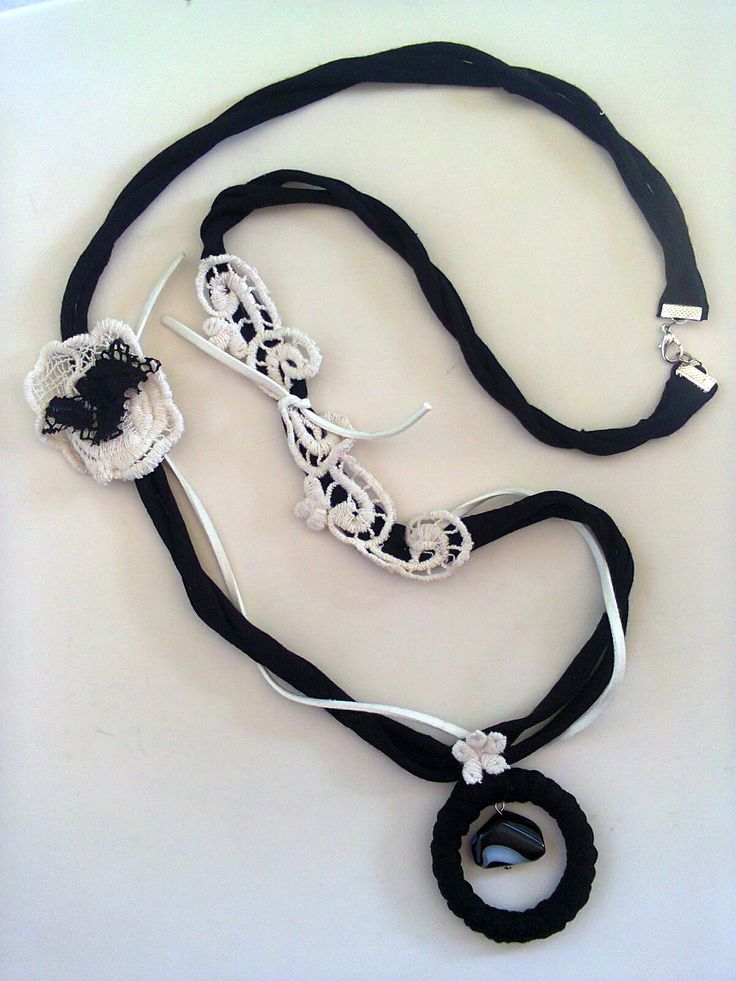 fabric-cotton-lace long necklace/KINZ jewelry