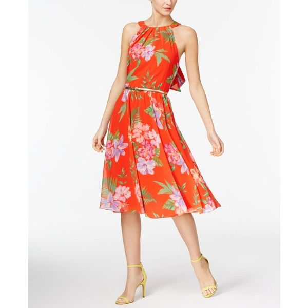 Inc International Concepts Petite Floral-Print Halter Dress, (14200 RSD) ❤ liked on Polyvore featuring dresses, orange floral, floral halter dress, floral dresses, petite dresses, inc international concepts dresses and orange halter dress
