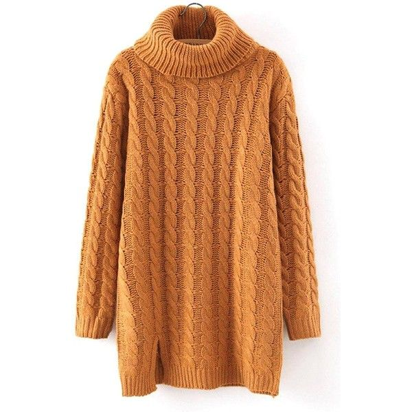 Yoins Yoins Cable Knit Long Sleeve Longline Sweater (43 AUD) ❤ liked on Polyvore featuring tops, sweaters, dresses, shirts, khaki, sweaters & cardigans, knit turtleneck sweater, cable sweater, long-sleeve shirt and long sleeve knit shirt