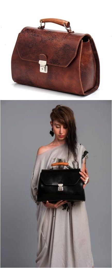 I am so going to be saving up for this bag! It's so beautiful! I love the leather color and the wood handle! | Made on Hatch.co by independent makers & designers