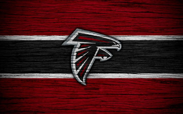 Download wallpapers Atlanta Falcons, NFL, 4k, wooden texture, american football, logo, emblem, Atlanta, Georgia, USA, National Football League, American Conference