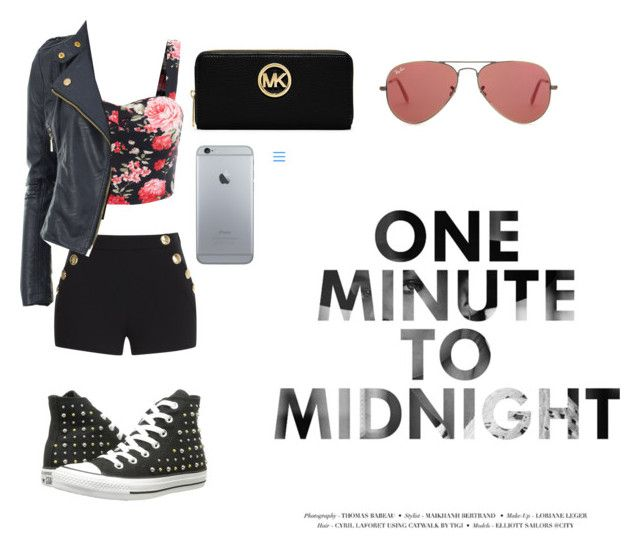 one minute to midnight by dj-eyecandy on Polyvore featuring Boutique Moschino, Converse, MICHAEL Michael Kors and Ray-Ban