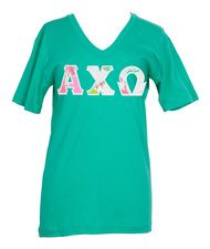 Alpha Chi Omega Lilly Don't Give A Cluck Stitched Letter Tshirt