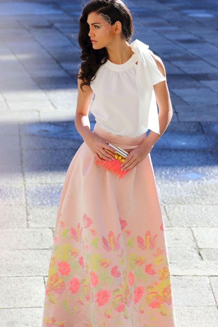 faldas de fiesta largas rosa con estampado de flores para boda evento coctel bautizo comunion de apparentia