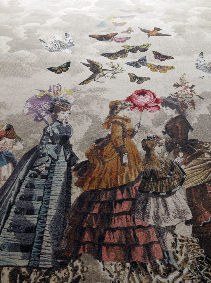 ATELIER by MONSIEUR CHRISTIAN LACROIX (Papillons design). The Gravure theme features fantasy engraving motifs inspired by monuments from Monsieur Christian Lacroix's home town, 1900 century fashion with birds and butterflies as well as mountain landscapes in Provence.