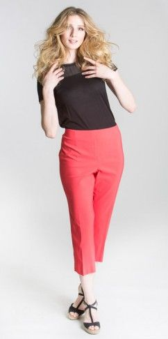 Crop pants BCP1872CR available in tomato (pictured), black, emerald, key lime, navy, orange, peach punch, sand and white