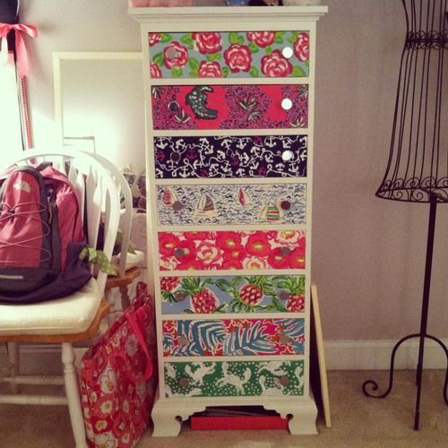 Lilly Pulitzer Dresser: paint prints on or use Mod Podge to apply wrapping paper or old agenda pages