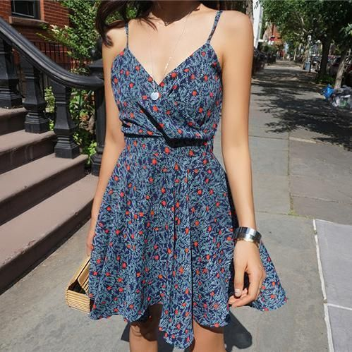 Summer Deep V Collar Floral Printed Vacation Dress – Omnimiss #homedecor #bts …