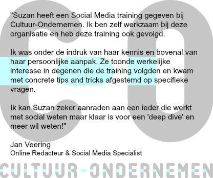Aanbeveling Cultuur Ondernemen - social media trainer