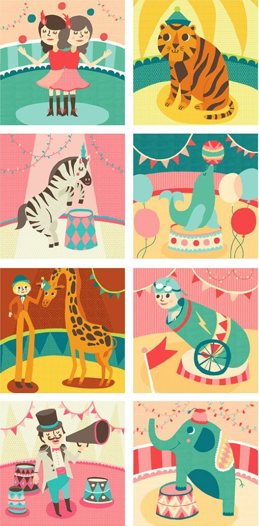 Love the colors of these sketchbooks, themed with Allison Cole's circus illustrations.