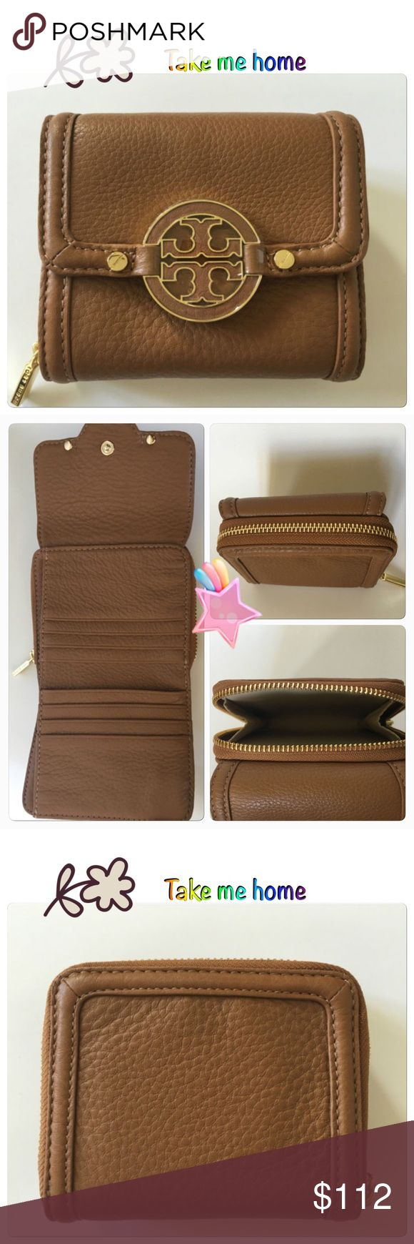 "NWT Tory Burch Tan Wallet NWT Tory Burch Amanda Tri-Fold Brown(Royal Tan) Pebbled Leather Zip Around Wallet  100% AUTHENTIC TORY BURCH WALLET   TORY BURCH AMANDA LOGO ON THE FRONT WITH FLAP SNAP CLOSURE PEBBLED LEATHER  BROWN(ROYAL TAN) COLORED GOLD TONED HARDWARE ZIPPER AROUND CLOSURE FOR COIN POCKET AT THE BACK OF THE WALLET 8 CREDIT CARDS SLOTS SLIP IN 2  COMPARTMENT ON EACH SIDE ONE LARGE SLIP IN COMPARTMENT  APPROXIMATE MEASUREMENTS: 4""(L) X 4.5"" (H)X 1.5""(D)  FULLY OPENED 10""(L)…"