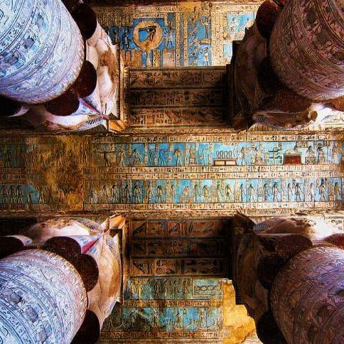 Columns In The Temple Of Hathor Egypt Covered With Hieroglyphics Ancient B Find This Pin And More On Interior Design History
