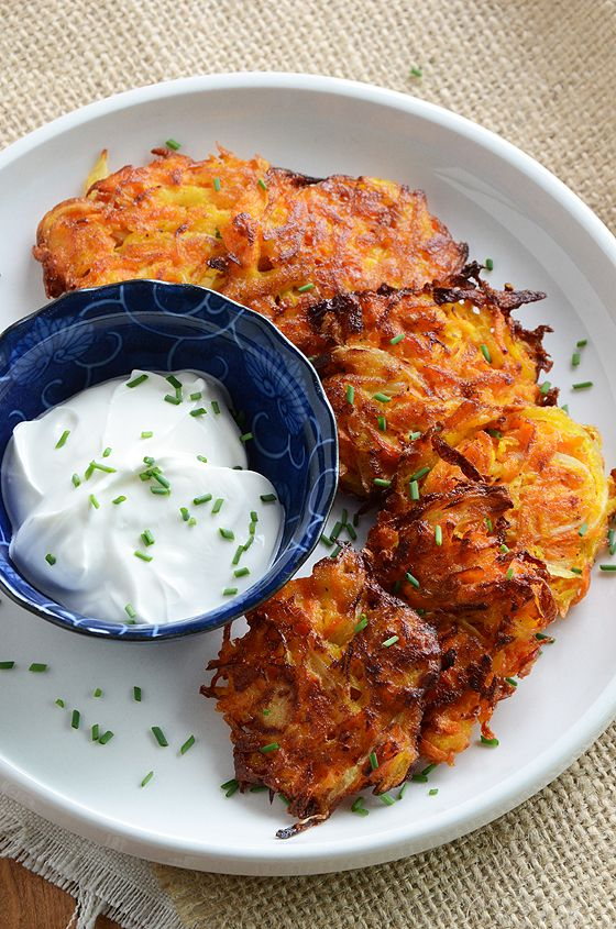 YUM! Carrot Apple Latkes -- I'm going to make along with a side of maple syrup and fresh apple sauce, can't wait!