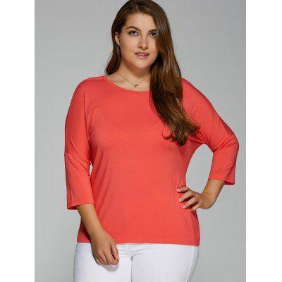 Plus Size Batwing Sleeve High Low T-Shirt #jewelry, #women, #men, #hats, #watches, #belts