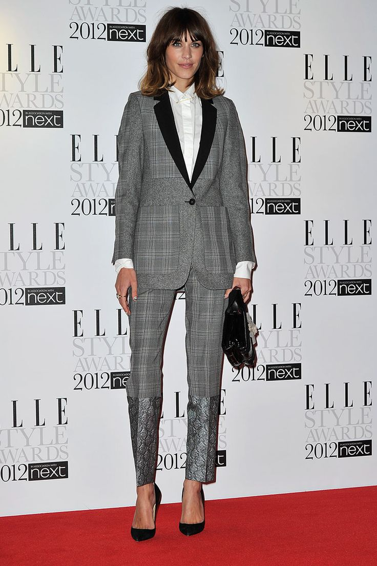 Alexa Chung steps out in a plaid Stella McCartney suit for the ELLE Style Awards 2012 on February 13, 2012 in London, England.